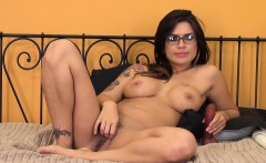 Exotic babe with big tits Eva Angelina pleases herself for the camera