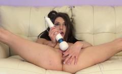 Jasmine Delatori spreads her sexy long legs and pleases her needy slit