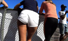 Sexy chick dressed in very short shorts gets her butt filme