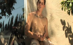 Stunt Racer Jacks Off Cock On Dirt Bike