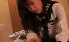 Adorable Japanese schoolgirl wraps her lovely lips around a