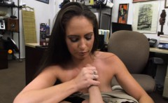 Hot brunette woman gets pussy pounded at the pawnshop