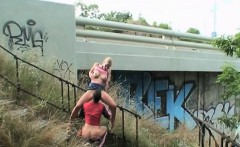 Dirty couple fucking 10 feet from highway