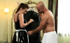 French brunette maid shows sensual moves with big cock guest