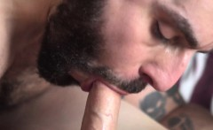 Slender twink cocksucked by bearded hunk