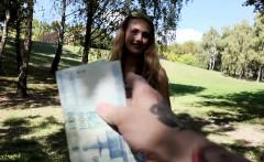 Hungarian babe fucks English stud outdoors