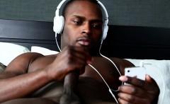 Beefy ebony athlete plays with himself