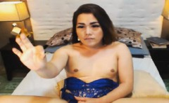 Cute Tranny Babe Jerks her Big Cock on Cam