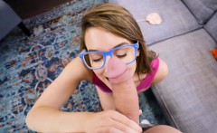 Cute nerdy teen swaying her ass and gets her pussy destroyed