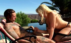 Ts Aubrey Kate sucking and anal riding her guy in the garden