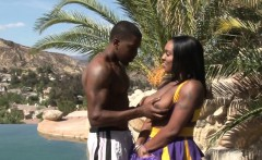 Curvy black cheerleader cockriding outdoors