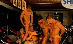 Four handsome muscled gay bikers sucking on juicy dick and