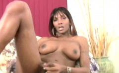 Feminine ebony tranny crams thick dildo in anal and cumshots
