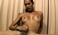 Big cock Asian tranny strokes my shaft and hers till cumshot