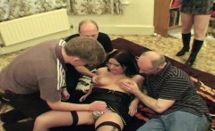 chubby amateur has sex with 4 men at once