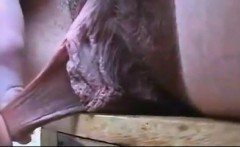 Beautiful latin girl plays with her hairy pussy close up