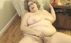Fat blonde bitch posing on web camera