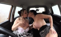 Busty examiner licks cunt to student