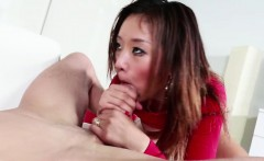 Alina Li slides her Asian pussy up and down a long dick...