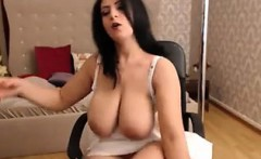 brunette busty milf flashes boobs - more on viewcamgirls,com