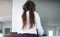 Adorable schoolgirl rides a cock hard