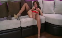 Lovely Casey in brown stockings