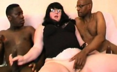 French BBW Sylviane takes 3 black cocks