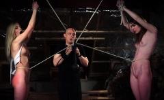 BDSM Punishing two teen slaves using leather whip