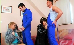 Lezzie women standing dressed in a fleshly oral play
