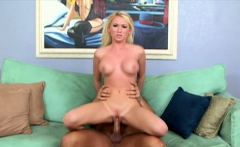 Sexy blonde enjoys sucking his dick before sex