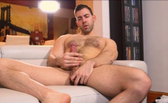 Handsome muscular stud jerking off his big thick cock
