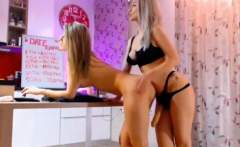 Beautiful blonde lesbians share a strapon