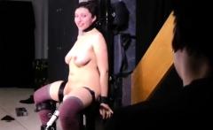 Slave Ella testing new BDSM chair