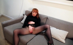 Redhead Red Xxx Solo Play In Nylons And Lingerie