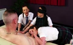 Cocksucking femdoms tease naked guy
