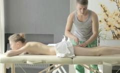Instead of gentle massage slutty sweetheart receives sex