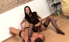 Strapon femdom punishes her submissive