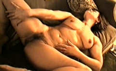 Yvonne shows her hairy pussy big tits and hard nipples