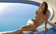 Flexible and all natural model strips naked outdoor