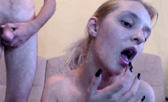 Amateur couple facial cumload on webcam