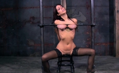 Angel receives hardcore clamping for her giant racks
