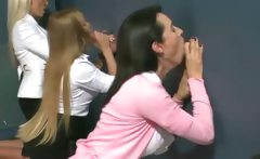 CFNM MILFs love sucking at the gloryhole