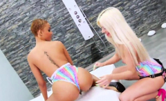 Lesbo hotties gape their intense anuses and ride long dildos