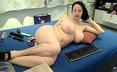 Busty milf plays with dildo solo masturbation