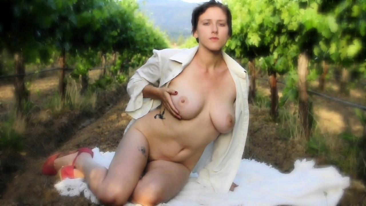 Busty girl outdoor solo