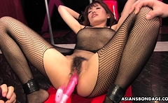 Yui Shimizu is moaning while getting both holes fingered