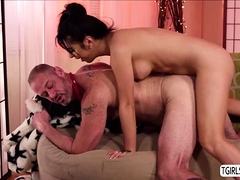 Ts Beauty Chanel Santini Fucks Studs Huge Cock In The Couch