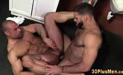 Gay bear rides gloryhole cock and gives head