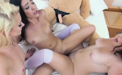 Chubby teen and BFFs fucked a big cocked teddybear