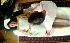 Asian massage babe pussy pounded